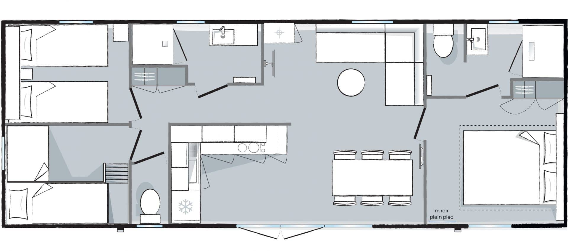 Plan mobil-home Cottage 3 Parc